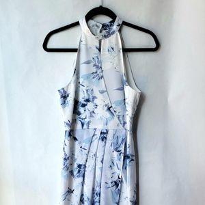 Ever New White/Blue Floral Halter Dress Sz 4